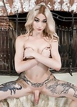 In this smashing solo scene, Luna Love is lounging and masturbating on a fur rug by the fireplace until she shoots a nice creamy load!