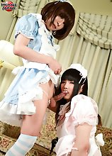 a blistering girl on girl fuck scene featuring two very naughty little newhalfs! Looking adorable in their slutty maids attire, Himena Takahashi &