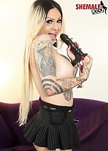 Horny tattooed Britney Boykins is back and she brought her dildo! Watch this sexy bootylicious alt tgirl fucking herself with her dildo!
