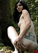 Irresistible TS Mandy Mitchell toying herself in the forest