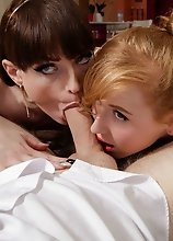 Natalie Mars & Shiri Allwood threesome POV blowjob!
