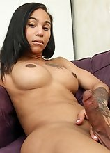 Megan Snow is a sexy tgirl with a smoking hot body, hot boobs, a great ass and a rock hard cock! Watch this horny black tgirl stroking her hard cock!